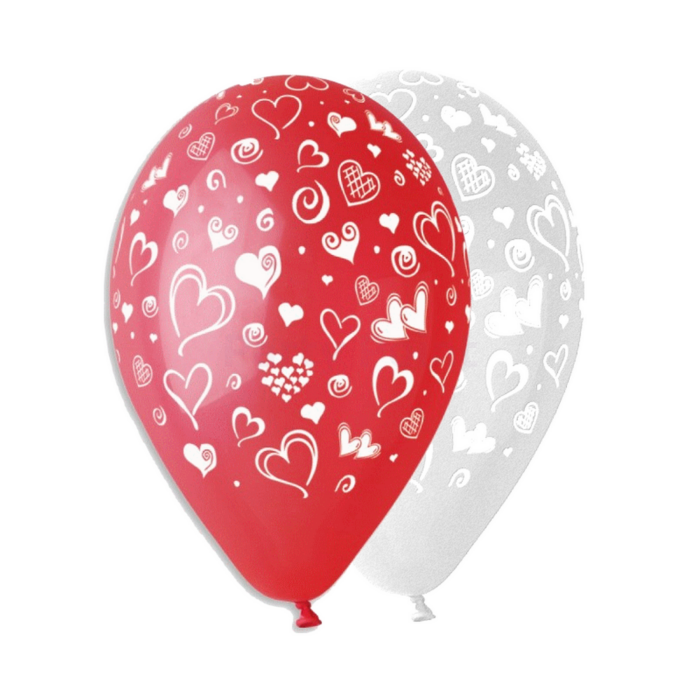 30 cm-es szíves fehér-piros printelt léggömb 10 db/cs
