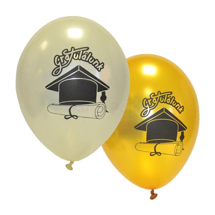 33 cm-es Gratulálunk! gyöngyház-arany színű gumi léggömb, 10 db