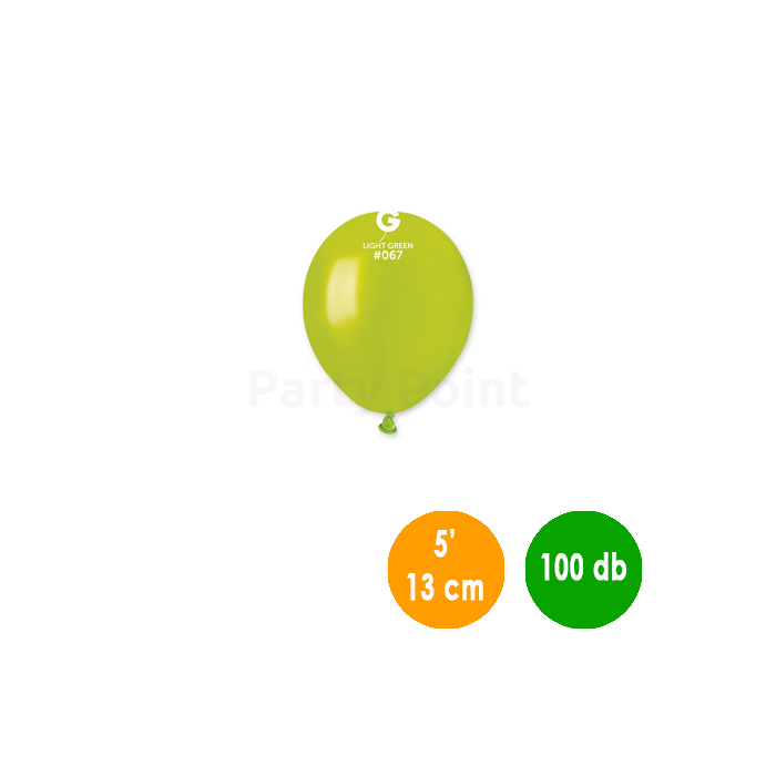 13 cm-es metál világos zöld gumi léggömb 100 db/cs.