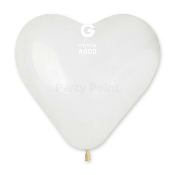 40 cm-es átlátszó, szív alakú gumi léggömb - 50 db / csomag