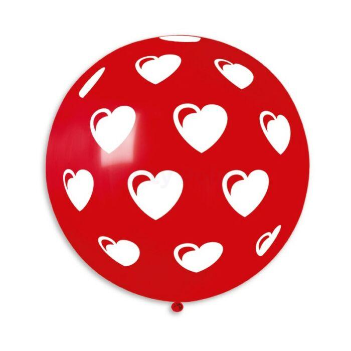 80 cm-es teli szív piros gumi léggömb 5 db/cs.