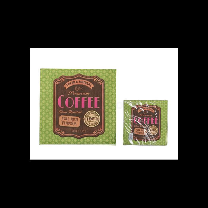 Zöld coffee szalvéta 33 x 33 cm 3 rétegű 20 db/cs