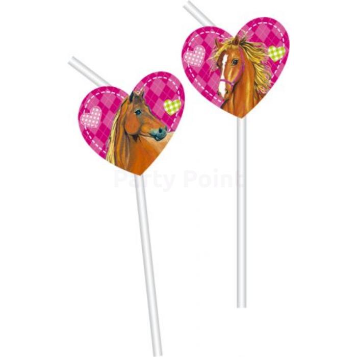 Pink lovas szívószál 6 db/cs