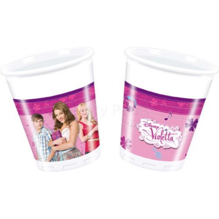 Violetta műanyag pohár, 200 ml - 8 db