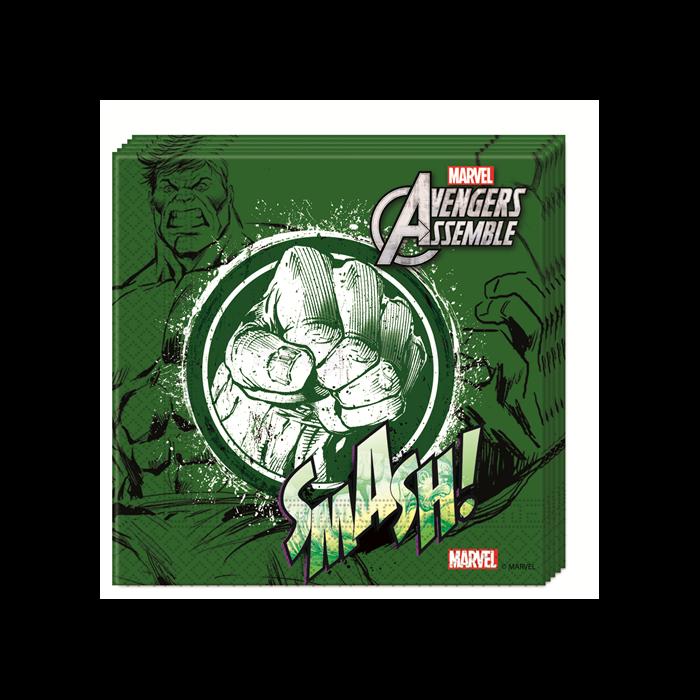 Bosszúállók-Hulk szalvéta, 33 x 33 cm - 20 db