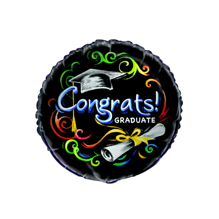 45 cm-es Congrats Graduate fekete fólia lufi