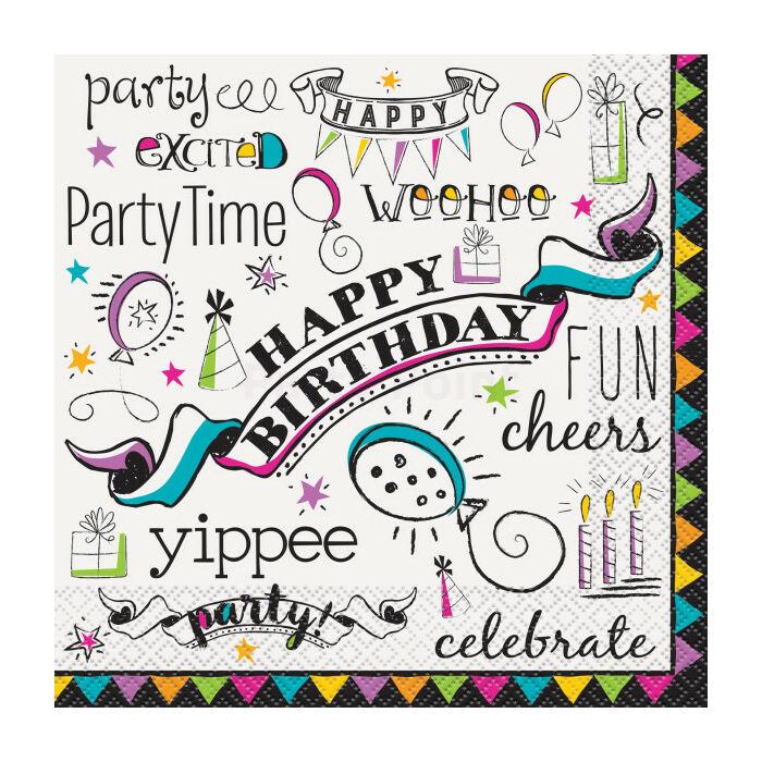 Happy Birthday Party Time szalvéta 16db/cs.