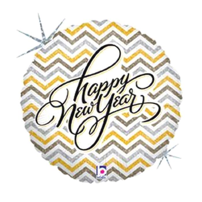 46 cm-es Happy New Year feliratú, hologrammos fólia lufi