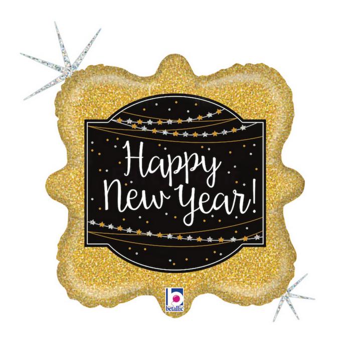 46 cm-es Happy New Year négyzet alakú, hologrammos fólia lufi