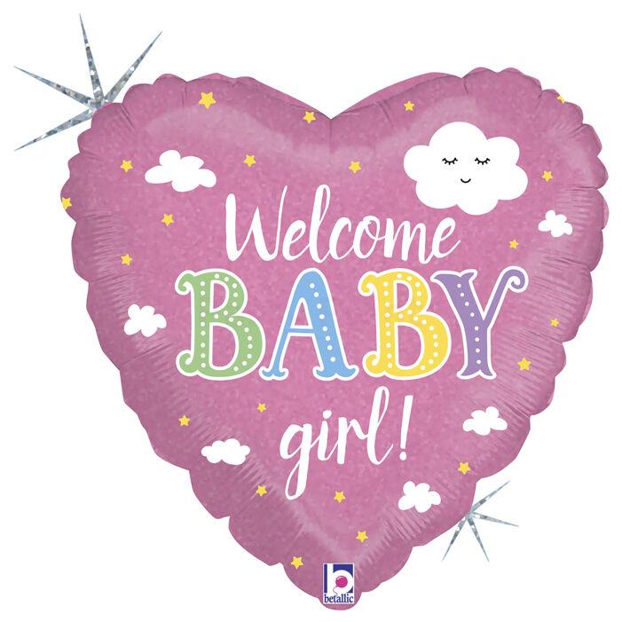 46 cm-es Welcome Baby Girl feliratos, hologrammos fólia lufi
