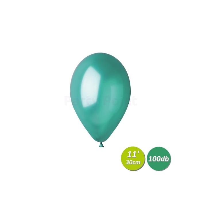 30 cm-es metál zöld gumi léggömb 100 db/cs.