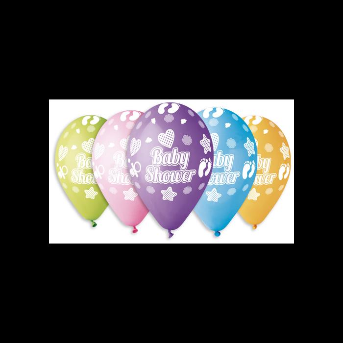 30 cm-es lábnyomos Baby shower vegyes színű printelt léggömb