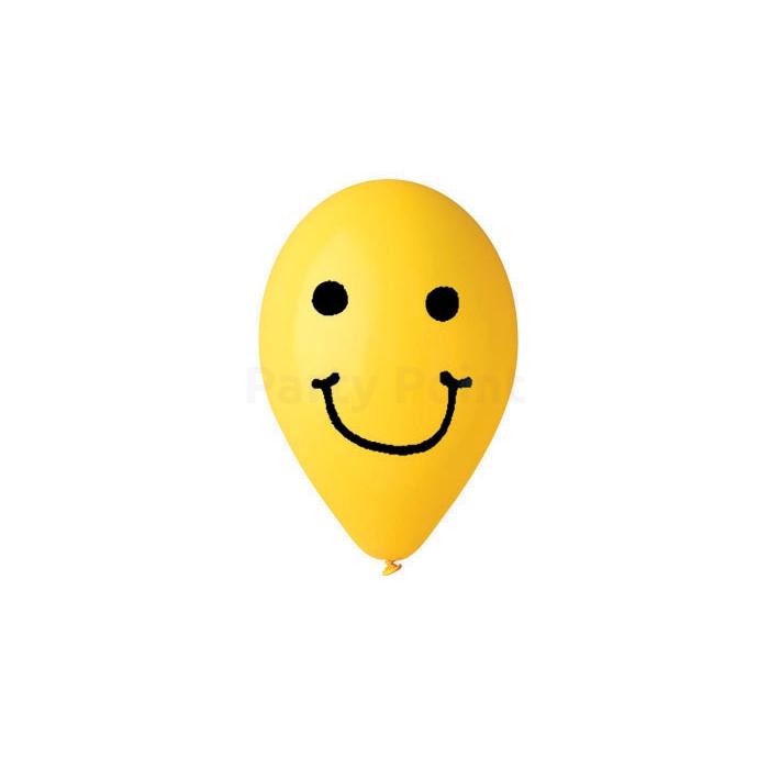 30 cm-es sárga smiley printelt léggömb 10 db/cs