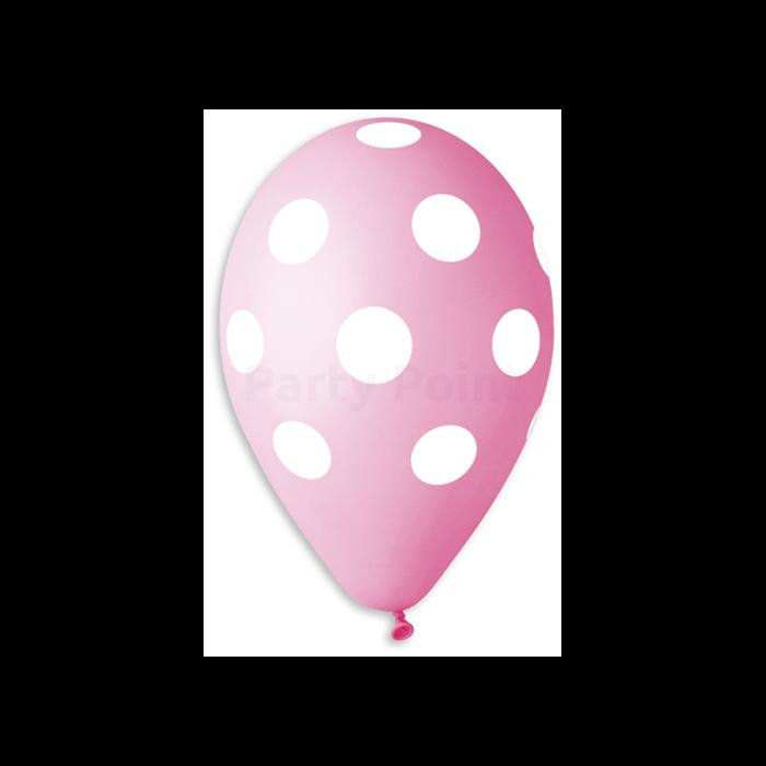 30 cm-es teli pöttyös pink gumi léggömb 10 db/cs.