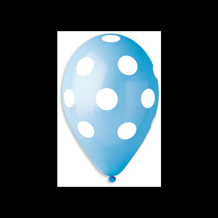 30 cm-es teli pöttyös kék gumi léggömb 10 db/cs.