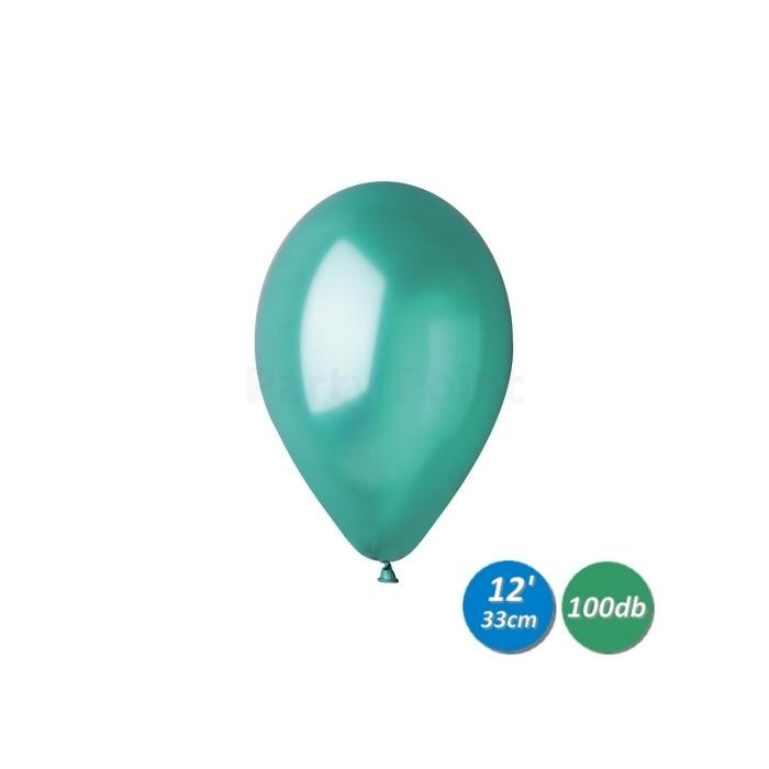 33 cm-es metál sötétzöld gumi léggömb 100 db/cs.