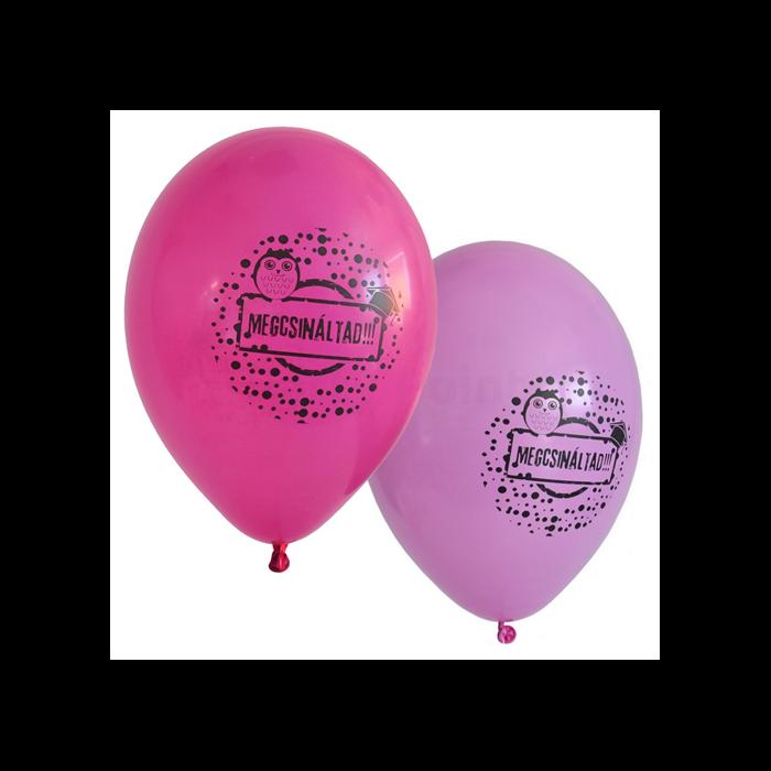 33 cm-es Megcsináltad! Gumi léggömb ballagásra pink-magenta színben