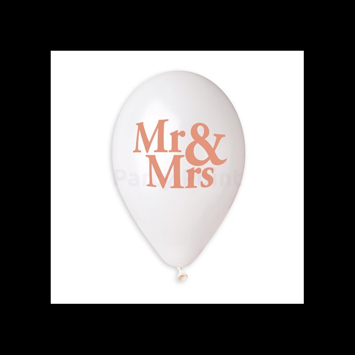 33 cm-es metál fehér Mr. & Mrs. Printelt gumi léggömb 10 db/cs.