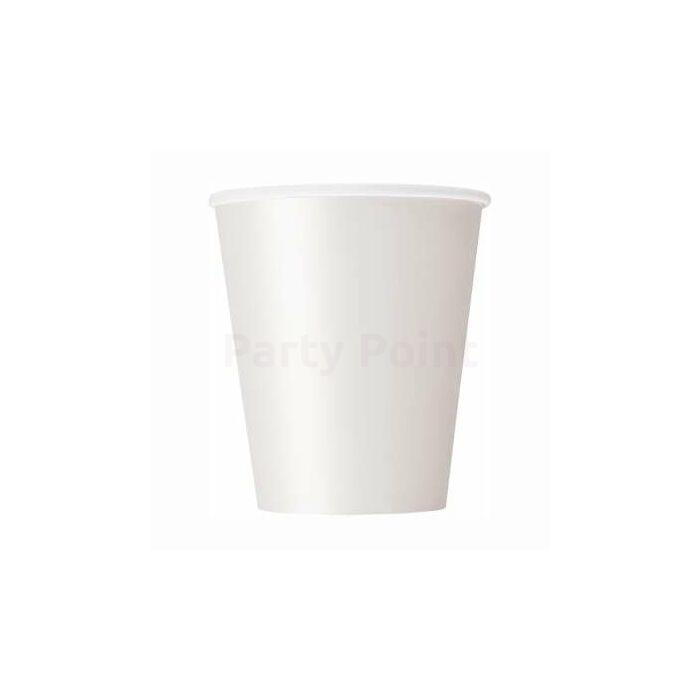 Fehér papír pohár 200 ml, 8 db