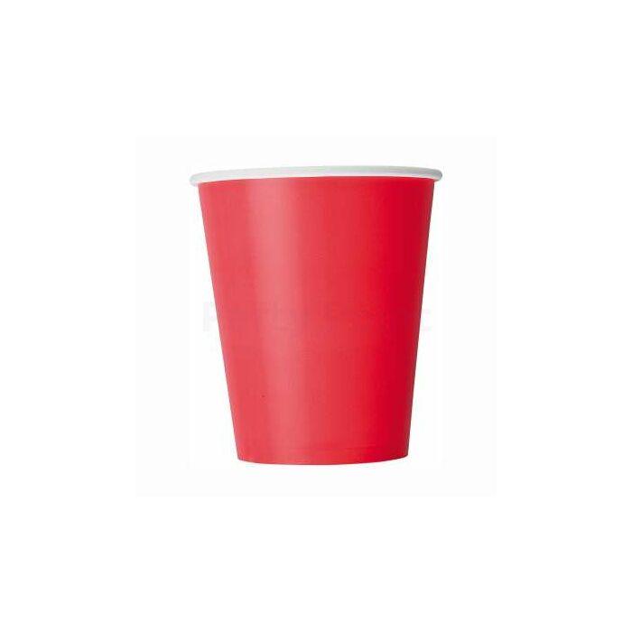 Piros papír pohár 200 ml, 8 db/cs
