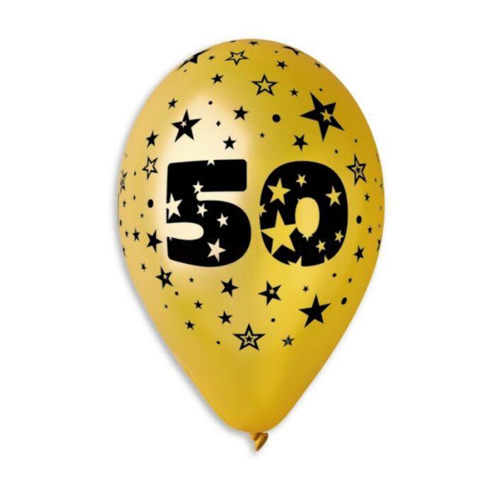 33 cm-es metál arany színű printelt gumi léggömb 50. évfordulóra
