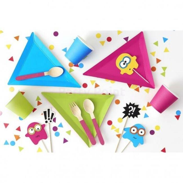 Háromszög papír tányér vegyes színben - 6 db / csomag