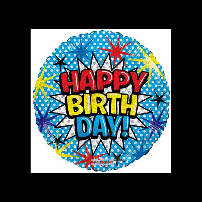 45 cm-es Happy Birthday! hologramos fólia lufi