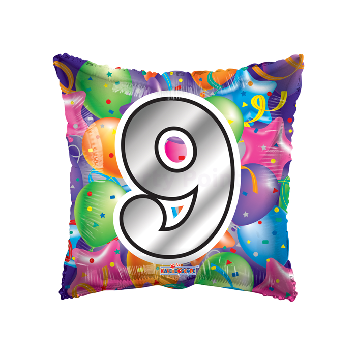45 cm-es lufis kocka alakú 9-es szám fólia lufi