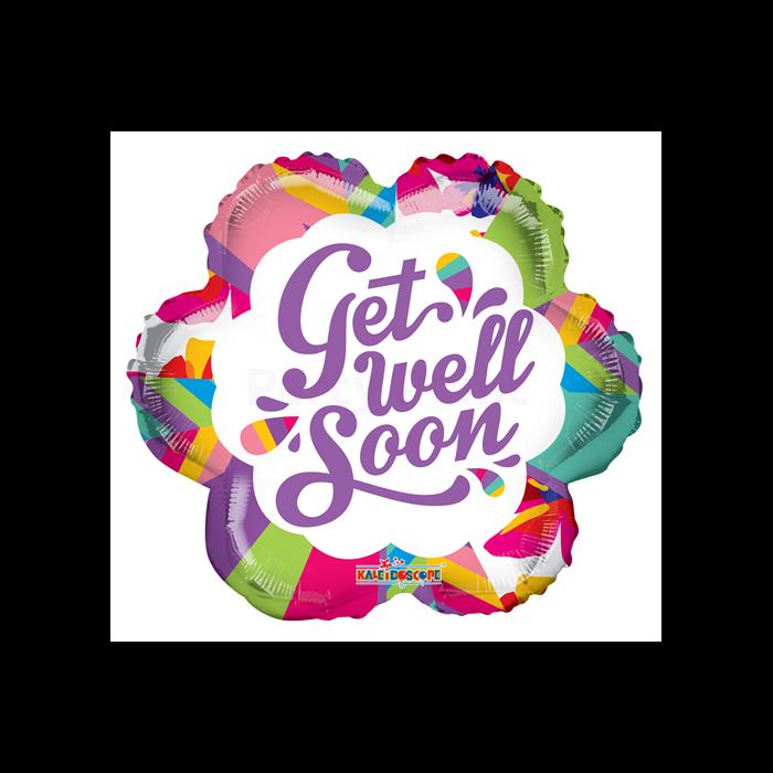45 cm-es Get well soon átlátszó fólia lufi
