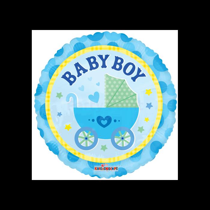 45 cm-es Babakocsis Baby Boy kék fólia lufi