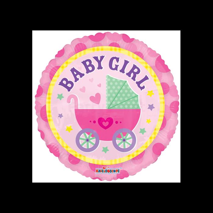 45 cm-es Babakocsis Baby Girl pink fólia lufi
