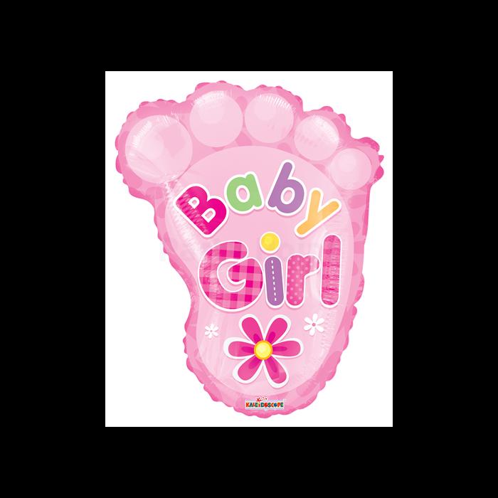 50 cm-es Baby Girl lábnyom átlátszó fólia lufi