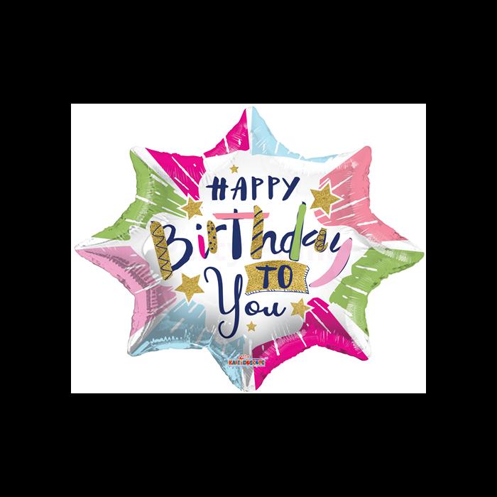 45 cm-es Happy Birthday to you csillag alakú fólia lufi