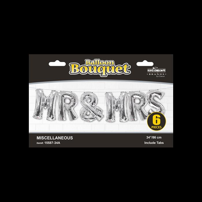 SuperShape - Mr& MRS felirat ezüst színű betű fólia lufi csomag