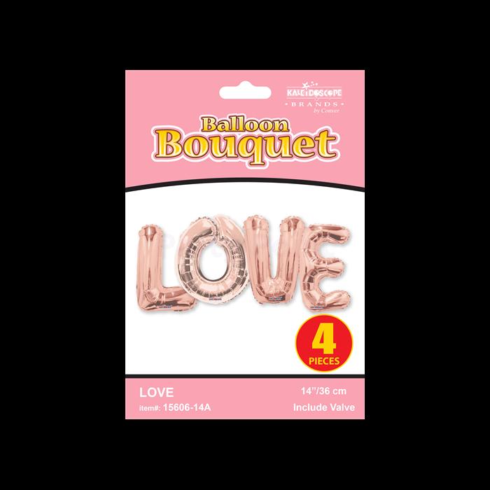 MiniShape - Love felirat rosegold betű fólia lufi csomag