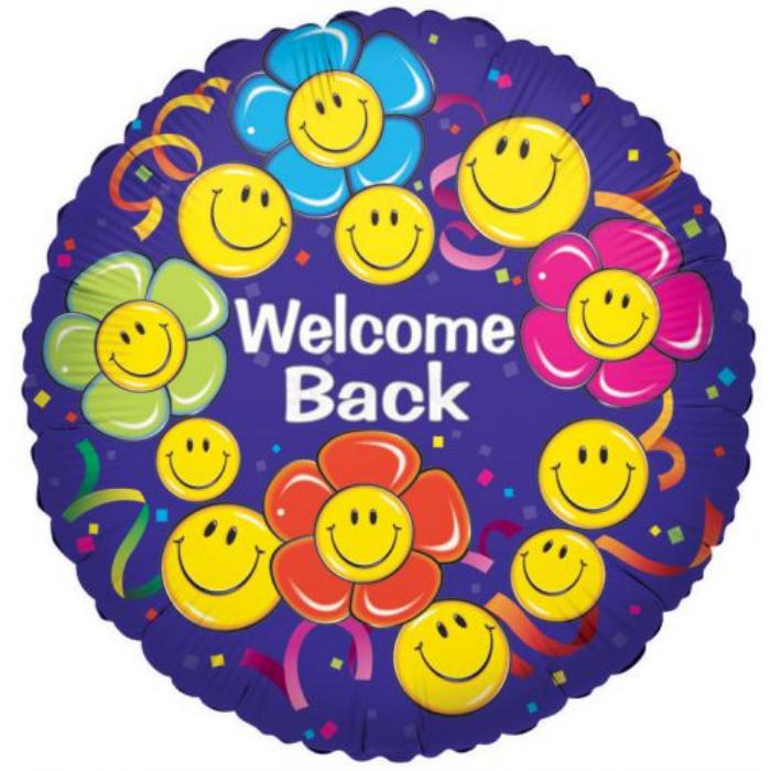 45 cm-es Smiley Welcome Back fólia lufi