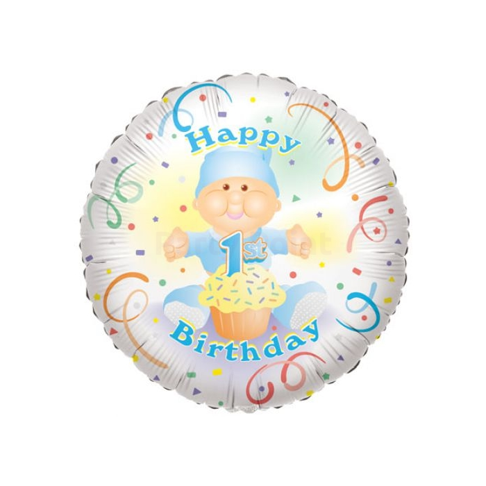 45 cm-es Happy Birthday 1st Birthday fiúknak fólia lufi