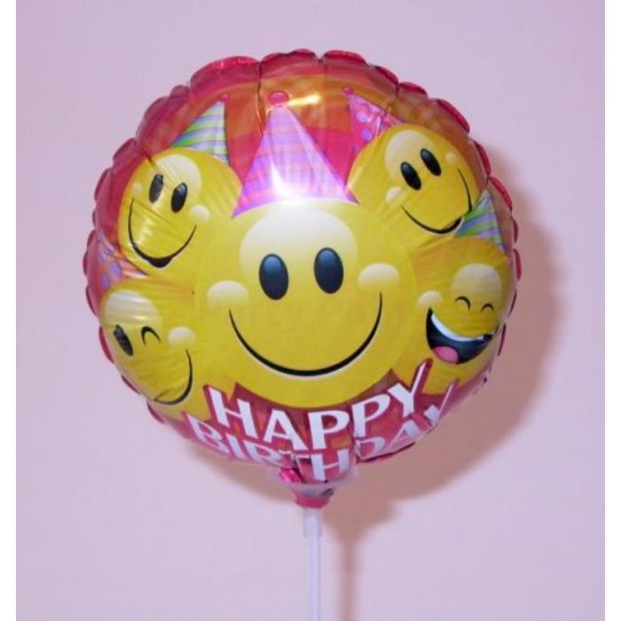 23 cm-es Smiley Happy Birthday fólia lufi