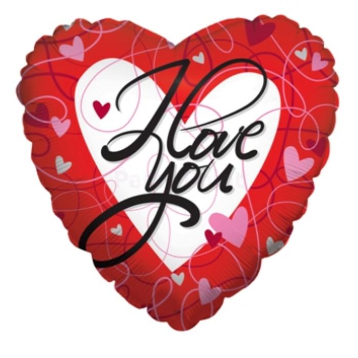 23 cm-es I love you szív alakú fólia lufi
