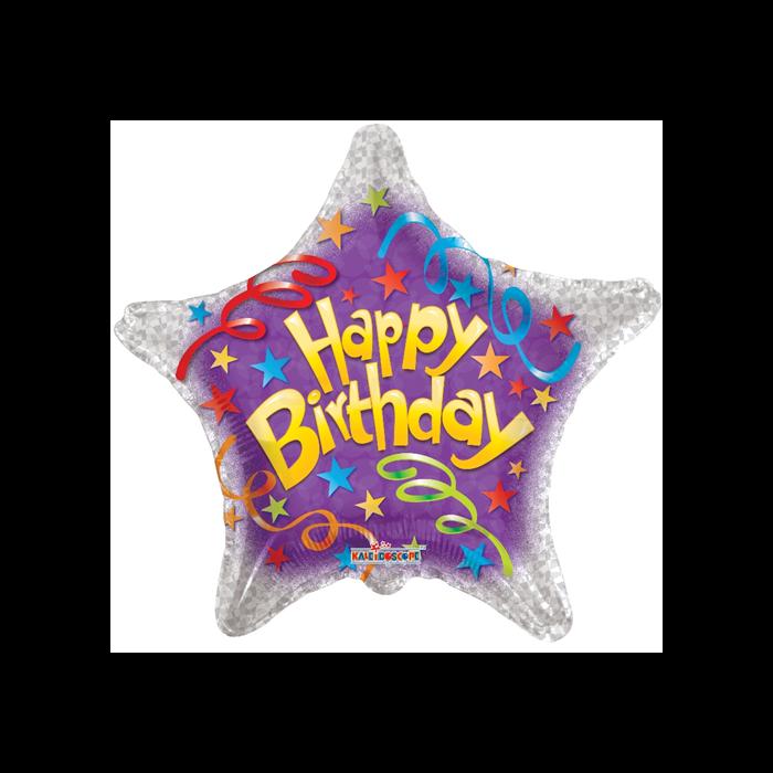45 cm-es Happy Birthday prizmás fólia lufi