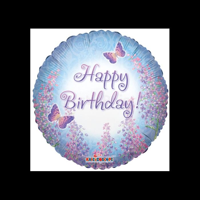 45 cm-es Happy Birthday pillangós fólia lufi
