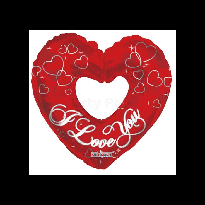 SuperShape - Lyukas szív ezüst színű szívekkel fólia lufi
