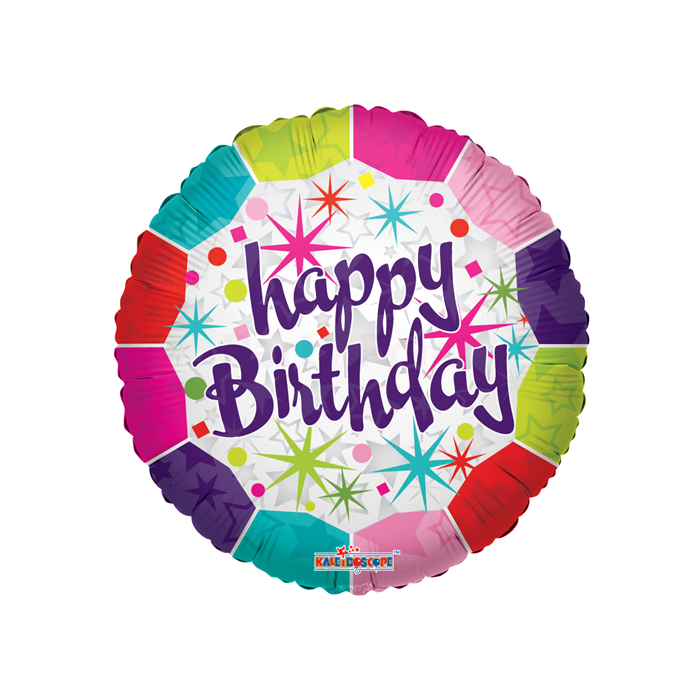45 cm-es Happy Birthday színes csillagos fólia lufi