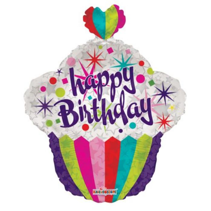 55 cm-es Happy Birthday színes muffinos fólia lufi
