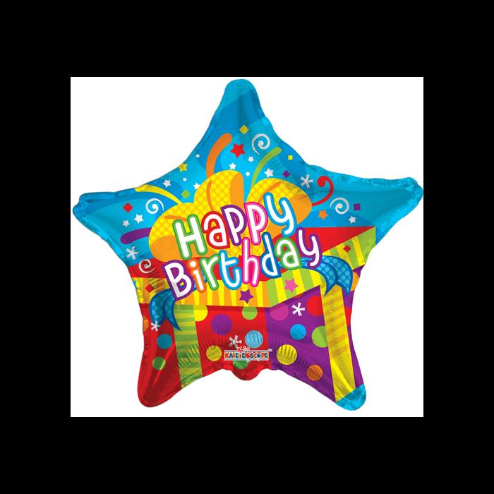 45 cm-es Happy Birthday ajándékdobozos fólia lufi
