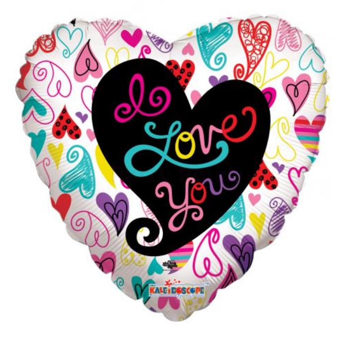 45 cm-es I love you színes szíves fólia lufi