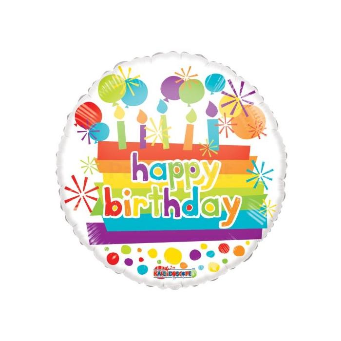 45 cm-es Happy Birthday Tortás átlátszó fólia lufi