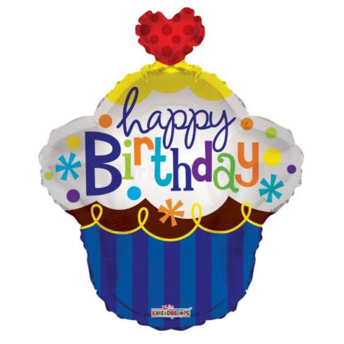 55 cm-es Happy Birthday kék muffinos piros szívvel fólia lufi