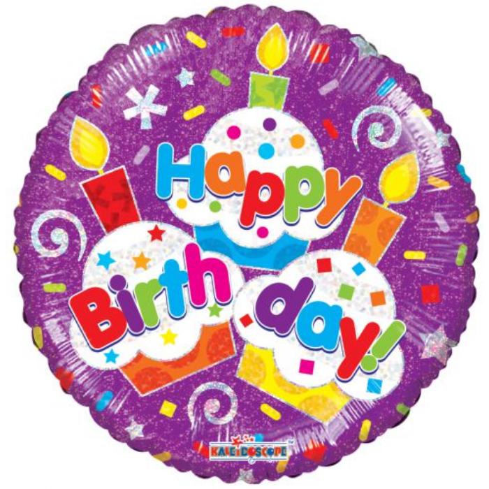 45 cm-es Happy Birthday muffinos hologramos fólia lufi