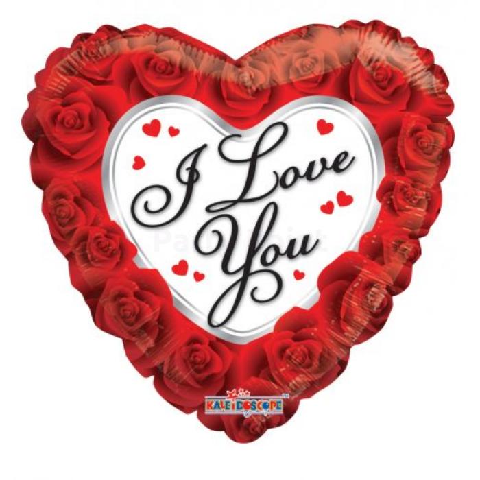 45 cm-es I love you rózsás fólia lufi